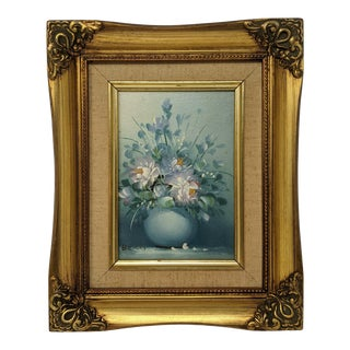 Vintage 1980s English Traditional Painting of Blue Vase of Flowers With Linen and Gilt Frame For Sale