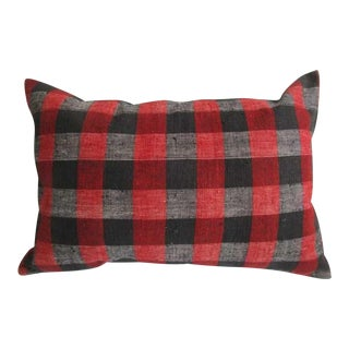 Modern Decorative Red and Black Kilim Pillow Cover For Sale