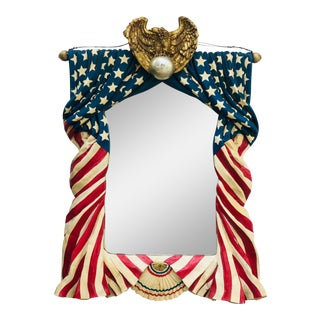 Monumental American Flag Draped Mirror For Sale