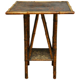 English Scorched Bamboo Chinoiserie Table For Sale