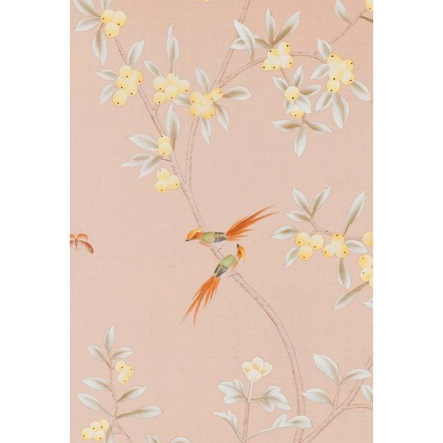 "Chinoiserie Jardins en Fleur ""Pavenham Court"" Chinoiserie Hand-Painted Silk Panel For Sale - Image 3 of 5"