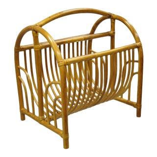 Vintage Bamboo Hollywood Regency Tiki Rattan Magazine Rack Stand Holder For Sale