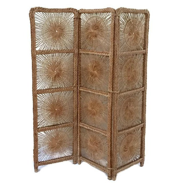 Mid Century Modern Rattan Folding Screen 3 Panel Room Divider Boho Headboard For Sale - Image 11 of 11