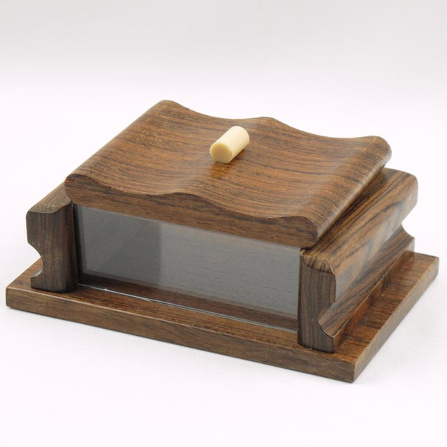 Wood French 1950s Rosewood and Lucite Box For Sale - Image 7 of 7