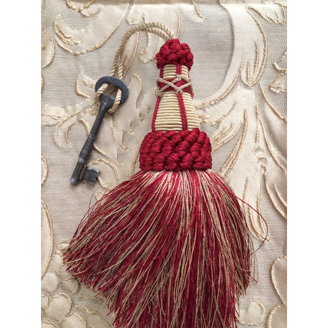 Ruby Red Red and Gold Key Tassels With Looped Ruche - a Pair For Sale - Image 8 of 9