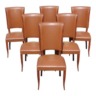 Classic Set of 6 French Art Deco Solid Mahogany Dining Chairs by Jules Leleu Circa 1940s
