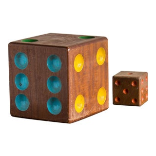 1940s French Collection of Two Vintage Wooden Dice - a Pair
