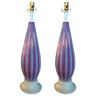 Seguso Style Opalescent Murano Glass Lamps - A Pair