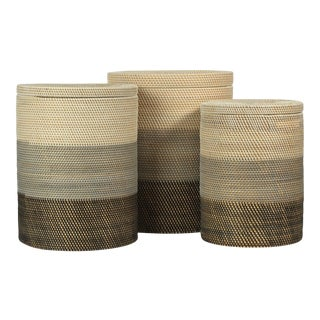 Kenneth Ludwig Chicago Catalina Rattan Lidded Baskets - Set of 3 For Sale