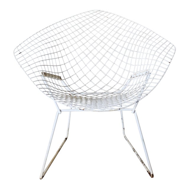 White Bertoia Diamond Chair by Knoll - Image 1 of 6