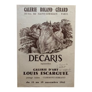 Original Art Exhibition Poster, Signed Decaris For Sale