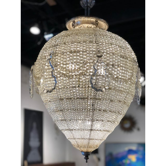 Glamorous French inverted pear shaped beaded chandelier, circa 1900.