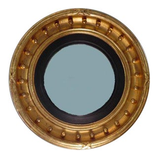 American Gilt Bull's Eye Convex Mirror For Sale