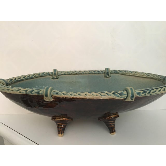 Arts and Crafts Footed Studio Pottery Oblong Bowl - Image 2 of 12
