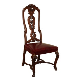 Antique Dutch Rococo Style Carved Walnut High Back Side Chair For Sale