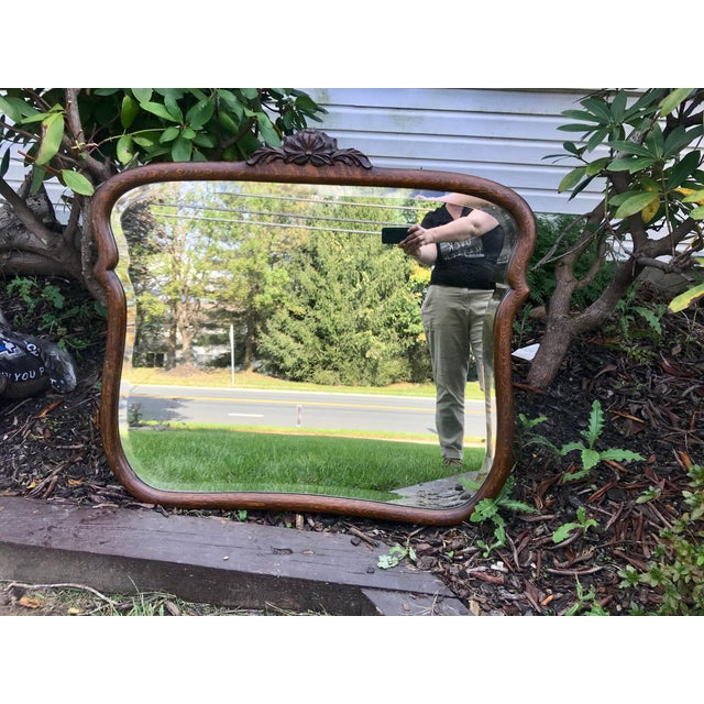 Glass Early 1900's Curved Wooden Wall Mirror For Sale - Image 7 of 12