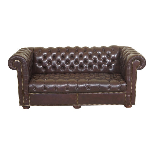1980s Vintage Brown Tufted Leather Chesterfield Sofa | Chairish