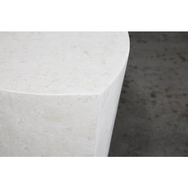 """Freeform """"Hampton"""" side table. Fiberglass body fully hand-inlaid with tessellated white ivory stone."""