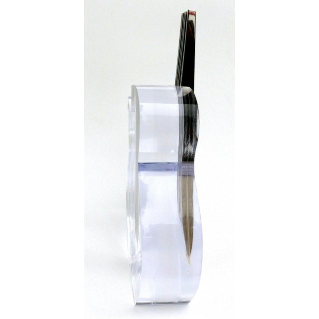 Transparent Custom Lucite and Stainless Steel Sculpture of a Guitar For Sale - Image 8 of 13
