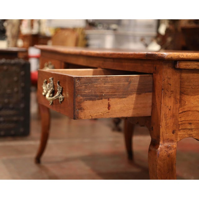 18th Century French Louis XV Carved Cherry Desk With Drawers and Pullout Trays For Sale - Image 10 of 13