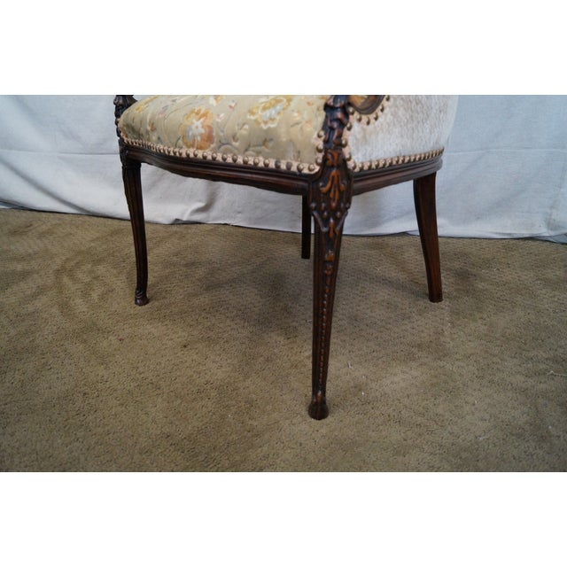 Vintage Mahogany Carved Fire Side Host Wing Chairs - Image 7 of 10