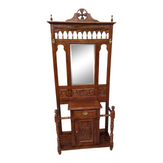 Vintage Victorian Style Carved Mahogany Hall Tree For Sale
