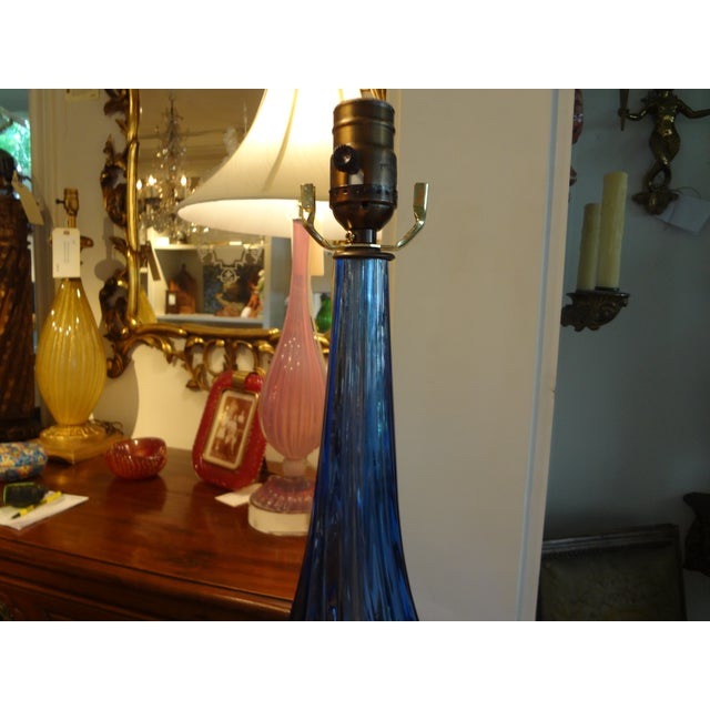 Murano Glass Cobalt Blue Table Lamp - Image 4 of 7