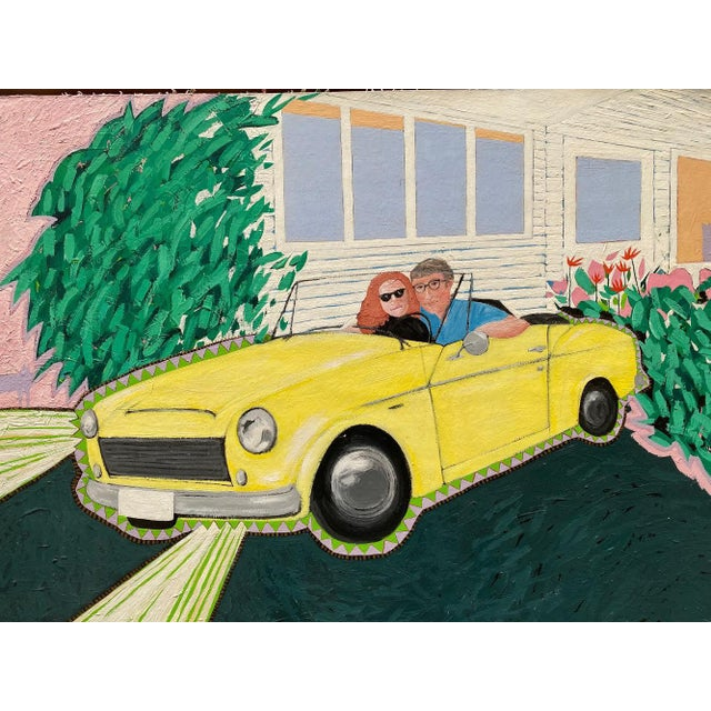 """Unique portrait of couple """"posing with cars IV"""" circa 1984-5 cool couple in a yellow drop top on paper and cardboard in..."""