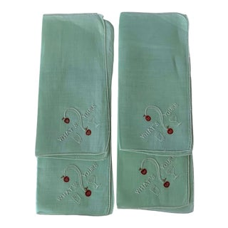 1950s Embroidered Green Linen Cocktail Napkins S/4 For Sale