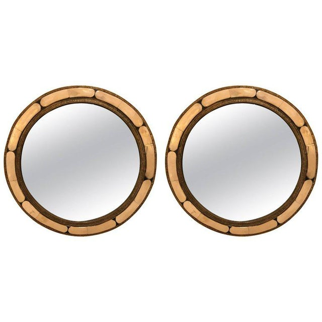 Moroccan White Round Camel Bone Mirrors - a Pair For Sale - Image 4 of 4