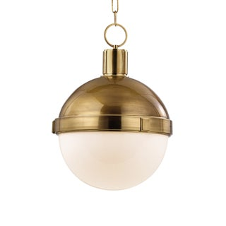Lambert 1 Light Pendant - Aged Brass For Sale