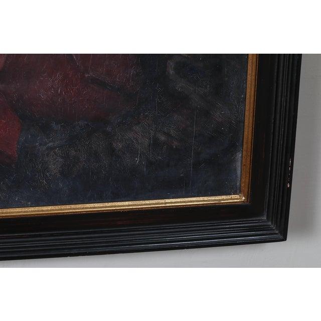 Portraiture Portrait of Parisian Woman in Black Hat Painting by C.P. Bernardo For Sale - Image 3 of 7