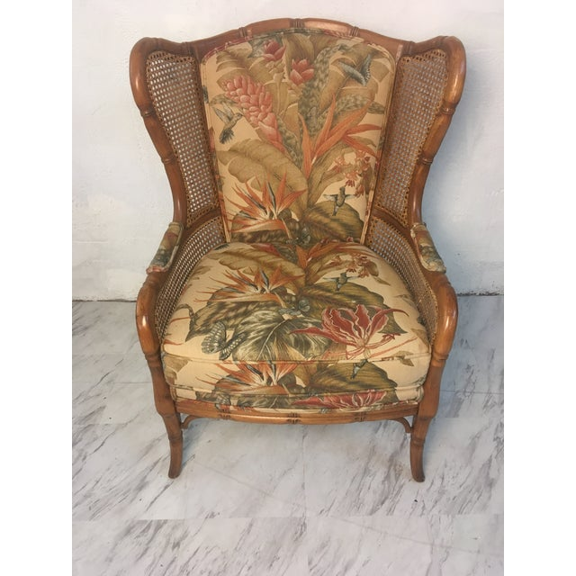 1970s Vintage Cane Wingback For Sale - Image 5 of 9
