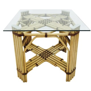 Mid-Century Rattan & Glass Top Dining Table For Sale