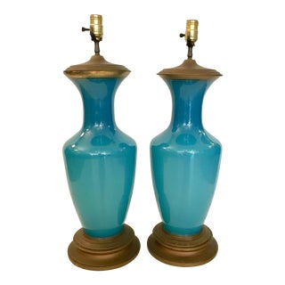 Vintage Turquoise Glass & Brass Table Lamps - a Pair