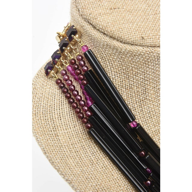 Yves Saint Laurent Rare Black and Purple Glass 6 Strand Necklace Vintage For Sale - Image 10 of 11
