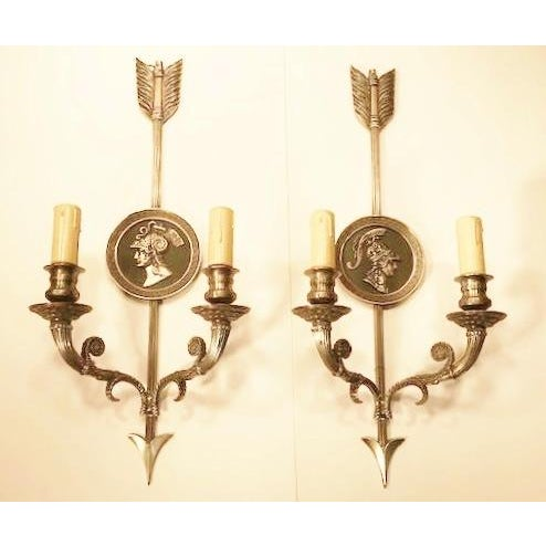 """Bronze """"Maison Charles Paris"""" - a Pair of 20th CenturyFrench Directoire Style 2-Lite Sconces, For Sale - Image 7 of 7"""