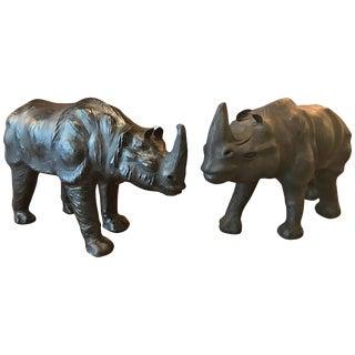 20th Century Figurative Black Leather Rhino Figurines - a Pair