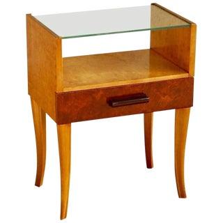 1940 Swedish Moderne Golden Flame Birch Side Table For Sale