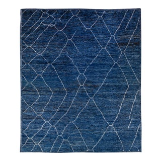 Oversize Modern Moroccan Style Handmade Tribal Blue Wool Rug For Sale