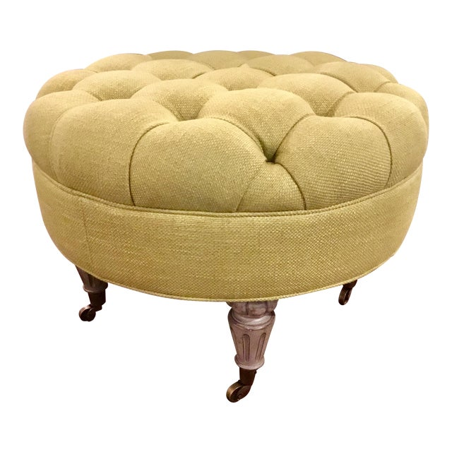 Currey & Co. Tufted Parlor Ottoman - Image 1 of 6