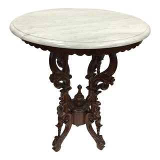 Victorian Carved Mahogany Marble-Top Round Table For Sale