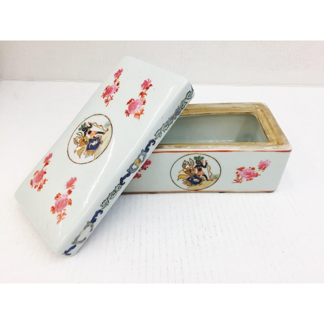 Vintage Porcelain Chinese Box For Sale - Image 5 of 8