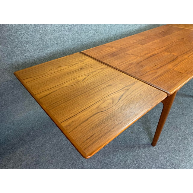 1960s Scandinavian Modern Teak Draw Leaf Dining Table For Sale - Image 9 of 11