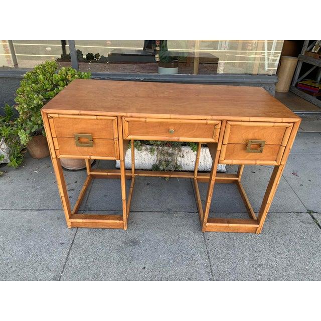Metal Mid-Century Vintage Bamboo Trimmed Desk For Sale - Image 7 of 11