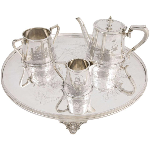 Three-Piece Child's Tea Set and Tray For Sale - Image 11 of 11