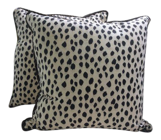 Ballard Design Pillows ballard designs pillows in black & cream animal print linen - a pair