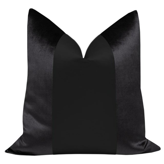 "Pair of 22"" ebony velvet pillows with center silk panel in a complimenting black. Same sided, knife edge finish, hidden..."
