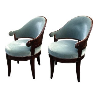 Dessin Fournir Art Deco Mahogany La Mont Barrel Chairs - a Pair