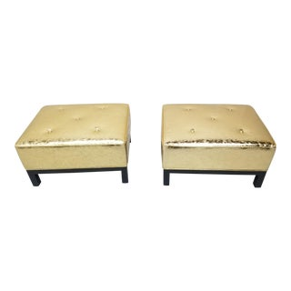 Hollywood Regency Christian Liaigre Stools Ottomans Newly Upholstered in Distressed Gold Leather - Pair For Sale